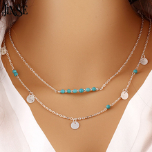JINSE NEC015 New Hot Fashion Gold Silver stone 3 Layer Chain Bar Necklace Beads and Long Strip Pendant Necklaces Jewelry(China)