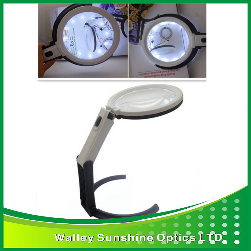 Brand New 2X 5X Folding Desk Magnifier Hand Magnifier with 10 LED Light Lamp<br><br>Aliexpress