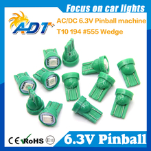 100 Piece Non Flickering T10 194 W5W Pinball led 555 6.3V AC/DC 5050SMD Green For Stern Pinball Game Machine