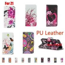Art Luxury Pretty Deluxe PU Leather Flip Book Painted Wallet Walet Case Capa For Sony Xperia Z1 Big Plum Flag Flowers Heart