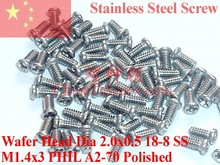 Stainless screw M1.4x3 Wafer Head PHIL Driver A2-70 Polished ROHS 100 pcs(China)