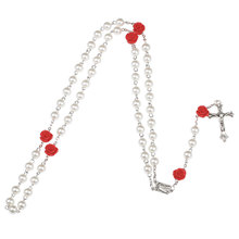 NingXiang Religious White Simulated Pearl Beads Red Rose Catholic Rosary Necklace Women Long Strand Necklaces Jesus Jewelry Gift