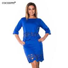 Elegant Sexy 2 piece set autumn women dresses big size NEW 2017 plus size women clothing L-6xl dress casual o-neck bodycon Dress(China)