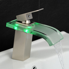 Basin Faucet Bathroom Waterfall LED Faucet Glass Waterfall Brass Bathroom Mixer Tap Deck Mounted Basin Sink Mixer Tap LH-16802(China)