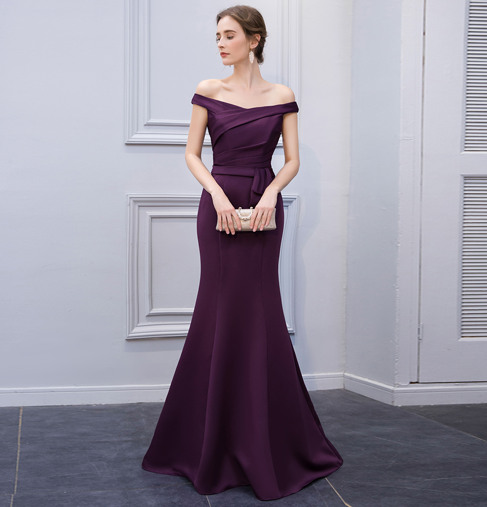 BeryLove Simple Mermaid Purple Satin Evening Dresses 2018 Long Off Shoulder Evening Gowns Formal Evening Dress Prom Dress 2