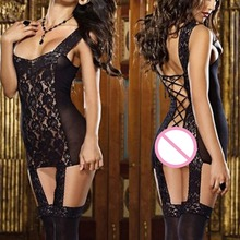 Sexy Lingerie Women Fishnet Open Crotch Babydoll Nightwear Erotic Lingerie Dress Teddy Underwear