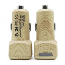HAISSKY Wood Fast Car Charger For Qualcomm Quick Charge 3.0 Dual USB Port Charging Adapter For Xiaomi Mi5 LeEco Letv HTC Samsung