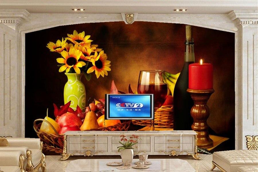Custom Still-life Wine Candles Fruit Vase Food wallpaper,hotel restaurant bar living room TV sofa wall bedroom kitchen wallpaper<br>