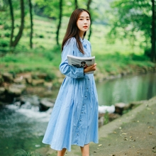 Spring Autumn New Collection Vintage Style Denim Women Dress Polo Collar A-Line Big Sweep Fresh Mori Girl Slimming Dress
