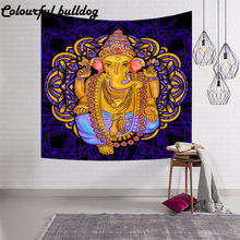 Indian Gods Canvas Bohemia Tapestry Elephant Wall Hanging Blankets Bedspread Dorm Home Living Room Decorative Mantas Beach towel(China)