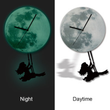 3D Stereo Swan Little Girl Pendulum Luminous Moon Clock Clock Glow Acrylic Bedroom Living Room Decorated Watches