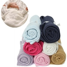 Giol Me Num Newborn Baby Blankets Super Soft Cotton Crochet Summer Candy Color Prop Crib Casual Sleeping Bed Supplies Hole Wrap(China)
