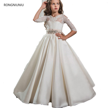 2017 Cute Tulle Half Sleeve Girls Pageant Dresses Elegant First Communion Dresses For Children Graduation Flower Girls Gowns(China)