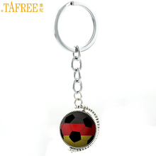 TAFREE novelty double sides rotatable glass art football pendant keychain sports lover soccer ball fans key chain holder SP726(China)