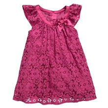 Baby Kids Girls Rose Flower Pattern Lace Dress Princess Short Sleeve Dresses 2-7Y