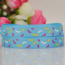 "3/8""9mm 10yards blue with lovely butterfly  grosgrain ribbon DIY series Free shipping"