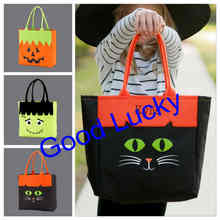 30pcs/lot free shipping halloween sacks treat of trick tote bags pumpkin Cat monogrammed candy gift bag for kids