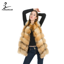 FURSARCAR 2017 Top Quality Real Genuine Red Fox Fur Vest Sleeveless Fox Fur Coat Hot Style 100% Real Red Fox Fur Vests BF-V0061