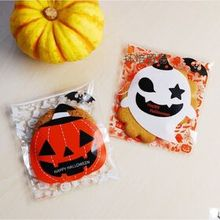 100pcs HALLOWEEN resealable treat bags Biscuit Packaging Bag Candy cookie Bags Wedding Birthday Party Craft 10x10cm F02