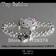 popular silver chain link ,rhinestone cute hello kitty ,i love you heart shape, fashion chain bracelet for lover girl(China)