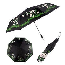 Folding Color Changing Flower Rain Umbrella Sun Shade Windproof Parasol Windproof Compact Ladies Umbrellas Parasol