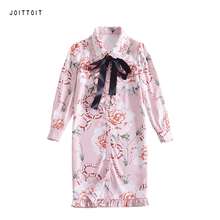 Women Party Pencil Dress Office Ladies Star Floral Print Black Bow Pink Pencil Dress Three Quarter Sleeve Slim Dress(China)
