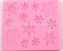 Snow Flake Impression Fondant Silicone Mold Sugar Craft Birthday Cake Decorating