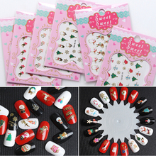 24pcs/Lot Christmas Beauty 3D Metal Nail Sticker Set Snowflake Full Tip Decals DIY Tattoos Nail Art Decoration Stickers(China)