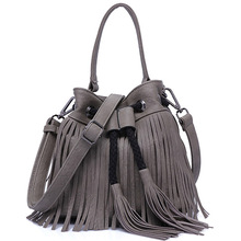 New Tassel Women Shoulder Bag With The String Rock Style Fashion Lady Totes Mini Women Bucket Shopping Bags