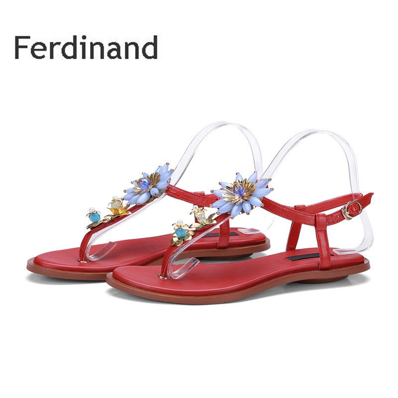 New String Bead Flower Women sandals Mixed color Black Red Women genuine leather Sandals Ladies Casual shoes Buckle Flats shoes<br>