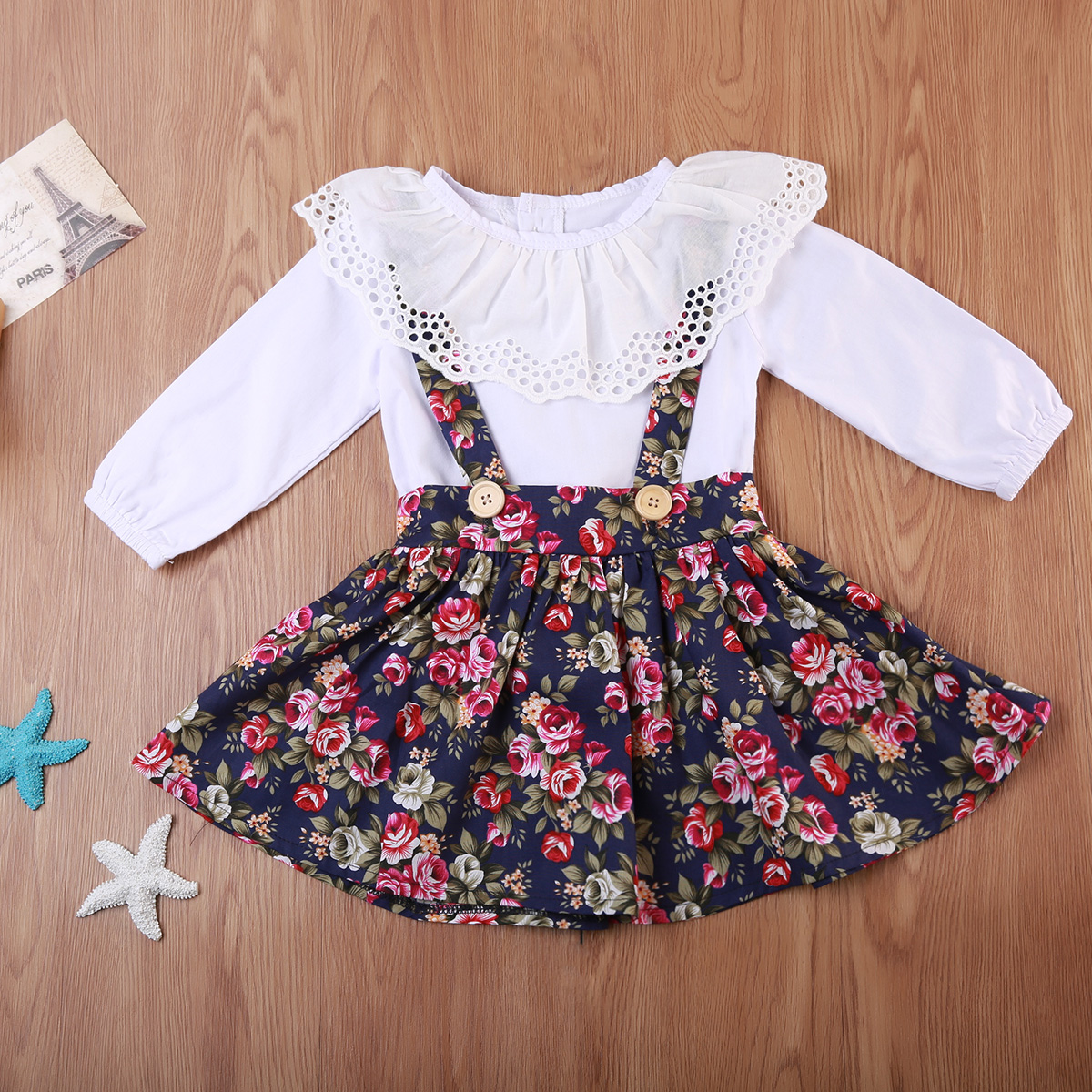 Toddler Baby Girls Blouse Dress Long Sleeve Princess Party Pageant Enfant Girl Flower Top Dresses Kids Clothes Set 2PCS Lovely
