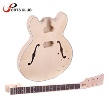 High Quality Unfinished Electric Guitar DIY Kit Semi Hollow Basswood Body Rosewood Fingerboard Maple Neck