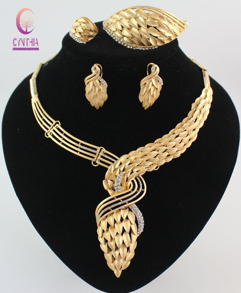 Aliexpress Com New Arrival African Costume Jewelry Sets Gold Color Crystal Wedding Women Bridal Accessories Nigerian Necklace Set From Reliable