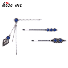 KISS ME 3pcs/set Antique Silver Color Blue Geometric Vintage Barrettes New Design Hair Jewelry Accessories