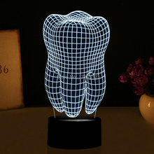 Free Shipping Tooth Shape 3D Illusion LED Table Lamp Night Light FS-2874(China)