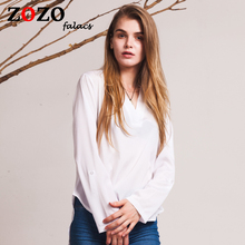 Falacs Zozo Women Autumn Winter Fashion Casual Office Lady Sexy Blouse Shirt Top Batwing Sleeve White Black Plus Size Blouses(China)