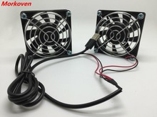 USB Cooling Fan 70mm 7CM Silent USB Powered Computer Two Fans Blades 5V Radiator for PS4 PS3 TV Boxes Sink Router Cooler(China)