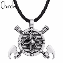 Chandler Axes Shield Pendant Viking Cross Gladiator Medieval Pewter Necklace With Cotton Rope Statement Punk Jewelry For Mens(China)