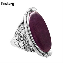 Flower Band Oval Opal Rings For Women Vintage Look Antique Silver Plated Personality Fashion Jewelry(China)
