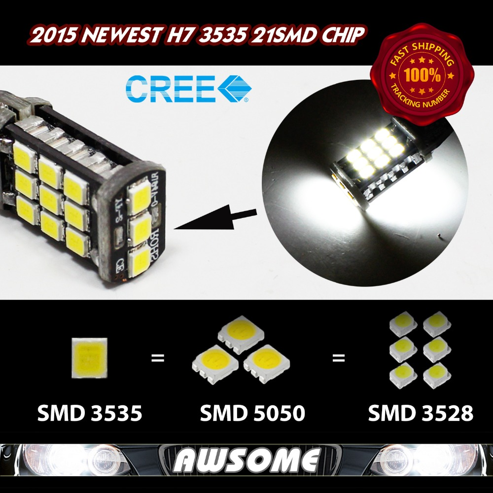 4x H7 21SMD 3535 Brighter than 5630 1200LM LED Car DRL Driving Fog Light Lamp 12V DC White/Amber/Red/Blue<br><br>Aliexpress