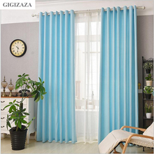 GIGIZAZA Blue jacquard semi black out fabric window curtain panel blinds  for bedroom livingroom light shading cortina