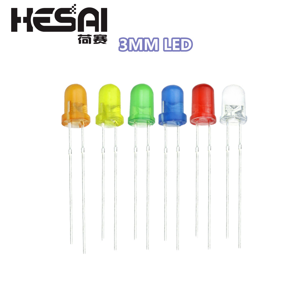 Yellow Assortment Kit. Round 3mm LED Red Green