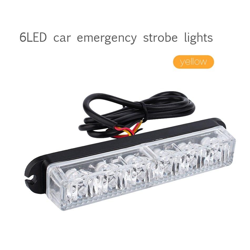 Yellow 6 LED Car Truck Amber Beacon Emergency Lamp Light Hazard Strobe Warning<br><br>Aliexpress