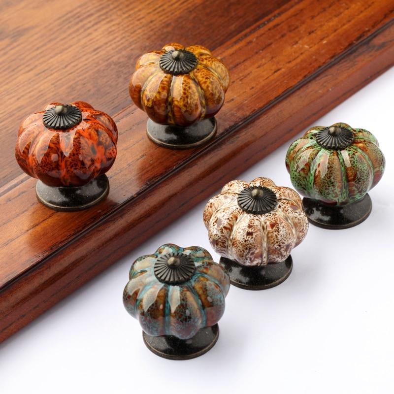New Design Pumpkin Shape Kitchen Cabinet Knobs Dresser Drawer Ceramic Porcelain Pulls Handles 5PCS<br><br>Aliexpress