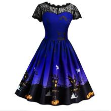 SexeMara New Short Sleeve Lace Patchwork Ghost Print Full Circle Halloween Dress Costume For Women 1950s Vintage Design(China)