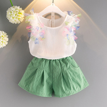 Girl In The Summer Of 2017, Children'S Clothing Personality Style Sleeve Petals Pure Color T-Shirt + Shorts Girl'S Clothes 3-7Y