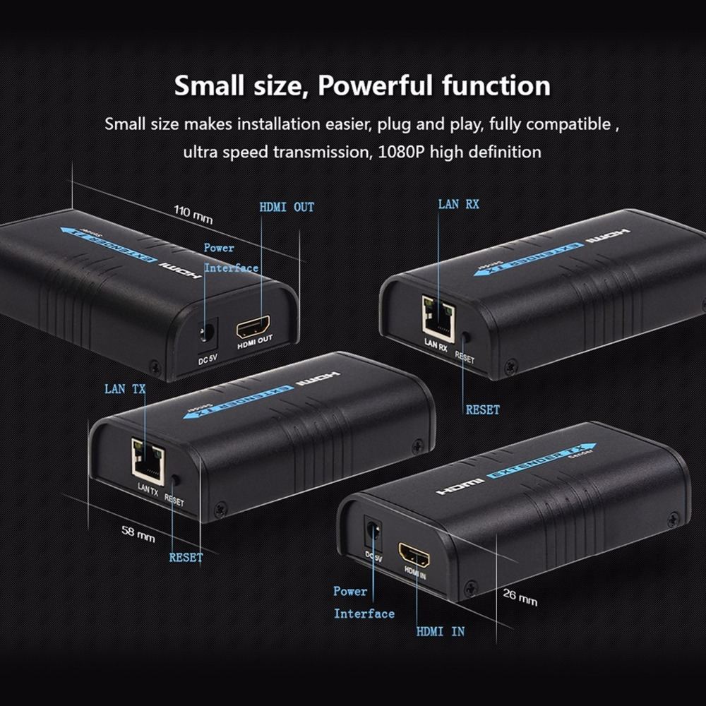 MiraBox HDMI Extender Over Splitter IPTCP UTPSTP CAT5e6 Rj45 LAN Network Support 1080p 120m HDMI Transmitter and Receiver (11)