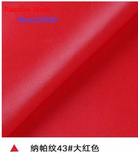 43# red High Quality Nappa Stripes vein grain PU Leather fabric for DIY sofa bed shoes bags Garment material(138*100cm)(China)