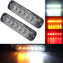 2PCS Car-styling 12V 6 Led Strobe Warning Light Amber Red Blue Strobe Grille Flashing Lightbar Ultra-thin Truck Car Lamp lights