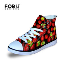 Funky Whimsical Bright Strawberry Print Girls Walking Shoes Orange Watermelon Fruit Design Lightweight Comfort Children Sneaker(China)